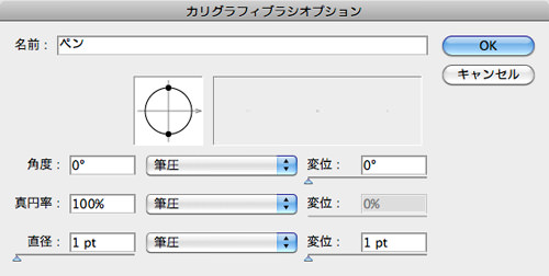カリグラフィブラシ設定画面