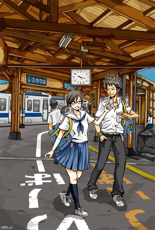 イラスト:下校列車