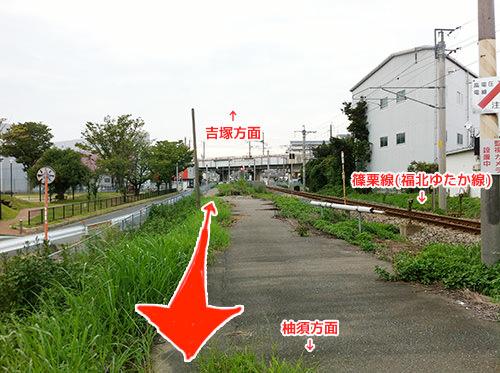 吉塚駅〜柚須駅間の線路跡